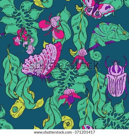 Seamless pattern with hand drawn exotic plants, animals and insects in vector on dark background - stock vector