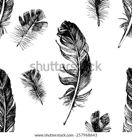 seamless pattern with hand drawn feathers - stock vector
