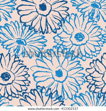 seamless pattern with hand drawn flowers - stock vector