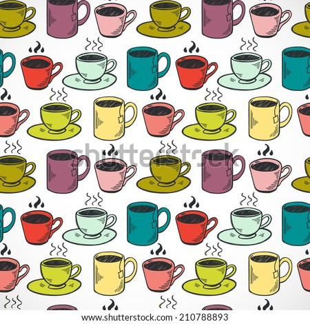 Seamless pattern with hand drawn sketchy tea and coffee cups. Coffee break colorful tiling background. - stock vector