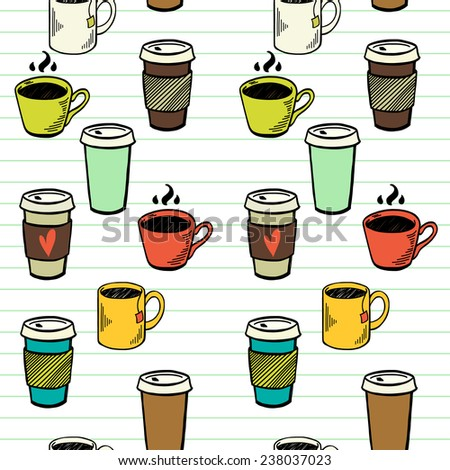 Seamless pattern with hand drawn sketchy tea and coffee cups on lined notepaper background. Coffee break colorful tiling backdrop. - stock vector
