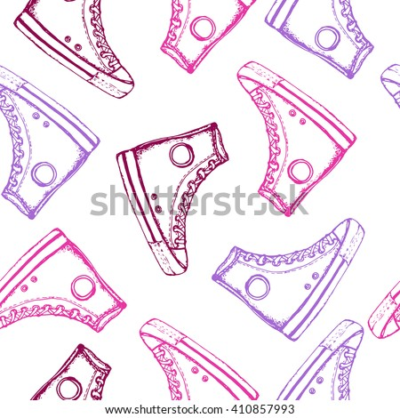 Seamless pattern with hand drawn sport shoes or sneakers. Wrapping paper. Vector stock illustration for shoe shop. Converse all stars sneakers. Shoe shopping, converse shopping pair.  - stock vector