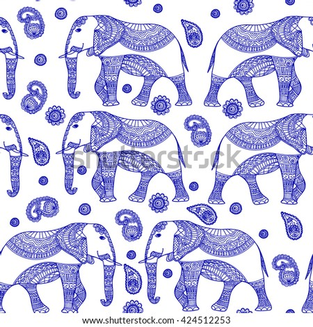 Seamless Pattern with Hand Drawn Vintage vector Indian elephant. Zenart Stylized.For Hindu, African, Indian, Thai, boho design, spiritual print, wrapping and textiles. - stock vector
