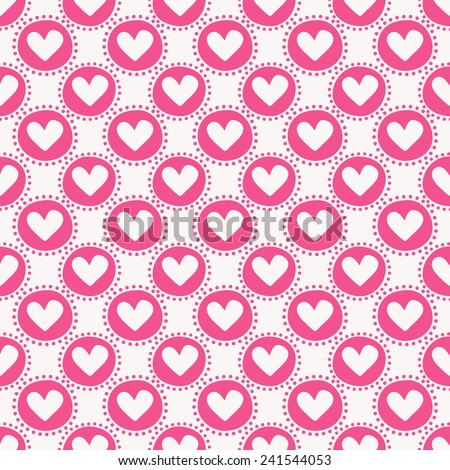 Seamless pattern with hearts and circles. Love and romantic themes. Vector illustration. - stock vector