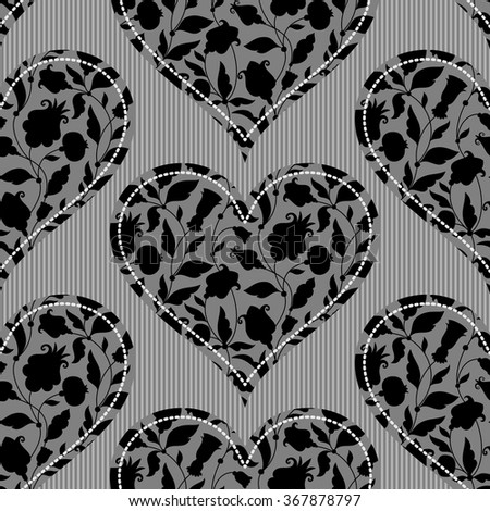 seamless pattern with hearts. Floral ornament - stock vector