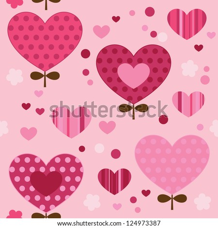 Seamless pattern with, hearts, flowers. Cute seamless. - stock vector