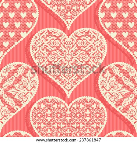 seamless pattern with hearts. lace - stock vector