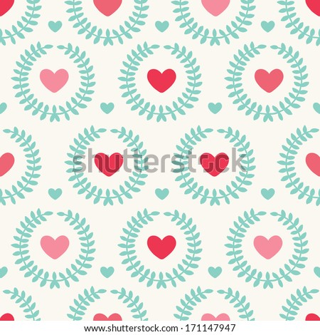 Seamless pattern with hearts. Perfect for wedding and Valentine's Day - stock vector