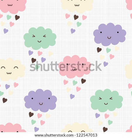 Seamless pattern with hearts rain and cute smiling clouds - stock vector
