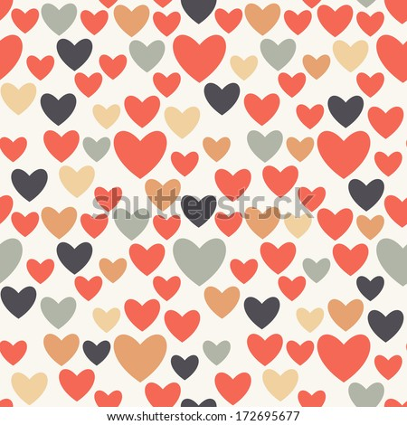 Seamless pattern with hearts. Valentines Day background. Vector holiday texture - stock vector
