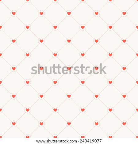 Seamless pattern with hearts. Vector repeating texture. Geometric monochrome background - stock vector