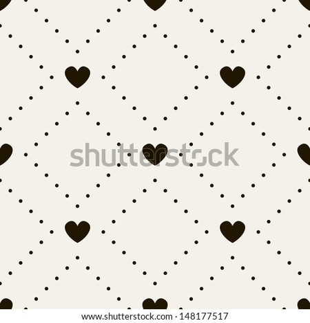Seamless pattern with hearts. Vector repeating texture. Geometric polka dot - stock vector