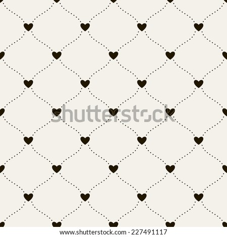 Seamless pattern with hearts. Vector repeating texture. Wavy dotted lines and hearts. Background for Valentine's Day - stock vector
