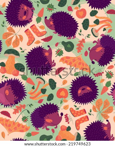 Seamless Pattern With Hedgehogs And Autumn Leaves - stock vector