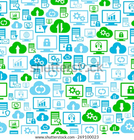 Seamless pattern with hosting, server, database, network and cloud computing icons - stock vector