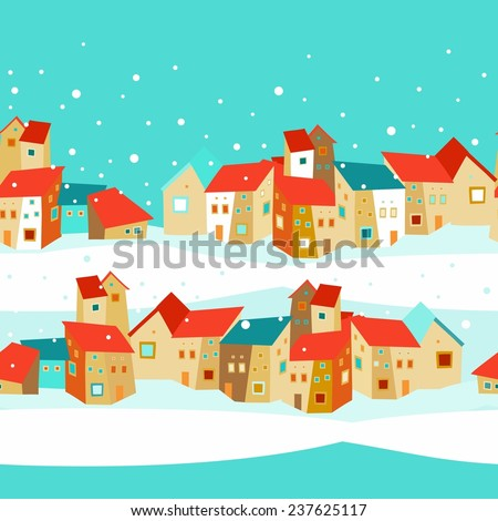 Seamless pattern with houses - stock vector
