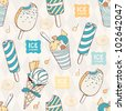 Seamless pattern with ice cream - stock vector