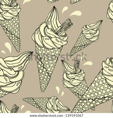 Seamless pattern with ice cream cones. - stock vector
