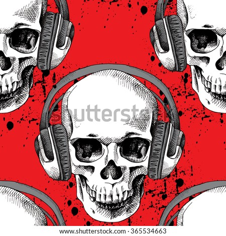 Seamless pattern with image of a skull in headphones on red background. Vector illustration. - stock vector
