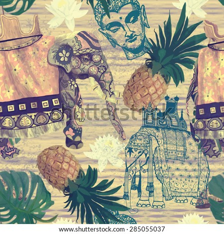 Seamless pattern with Indian elephants, pineapples and Buddha head. Hand drawn vector. Vintage style. - stock vector