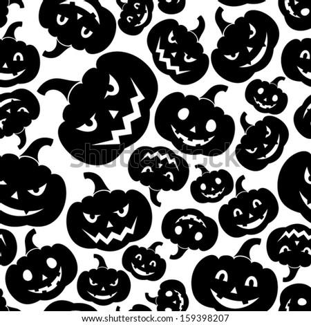 Seamless pattern with Jack-O-Lantern (Halloween pumpkins). Vector illustration.  - stock vector