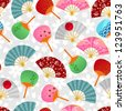 seamless pattern with Japanese fans (JPEG available in my gallery) - stock vector