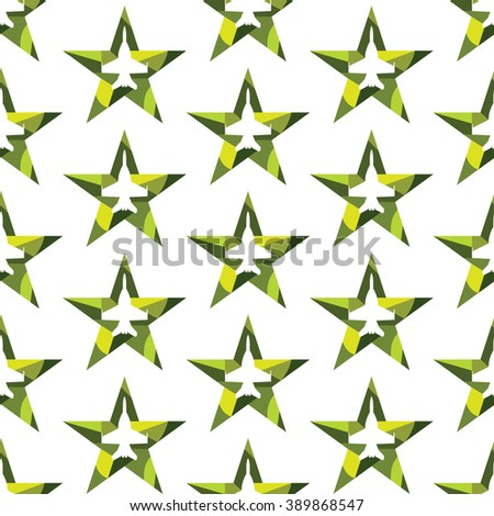 Seamless pattern with jet fighter silhouette inside the star. Modern vector background. Khaki green colors. - stock vector