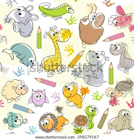 seamless pattern with  kids' drawings of animals - vector illustration, eps  - stock vector