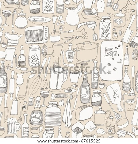 Seamless pattern with kitchen - stock vector