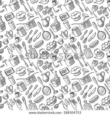 Seamless pattern with kitchen doodles set - stock vector