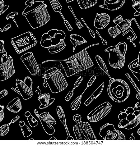Seamless pattern with kitchen doodles stuff - stock vector