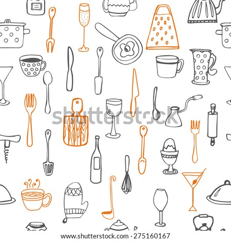 Seamless pattern with kitchen utensil - stock vector