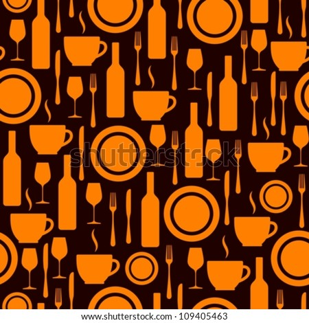 seamless pattern with kitchen utensils - stock vector