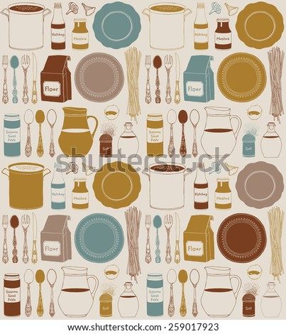 Seamless pattern with kitchen utensils and food, isolated objects. Cookware, home cooking background. Modern design. Vector illustration. - stock vector