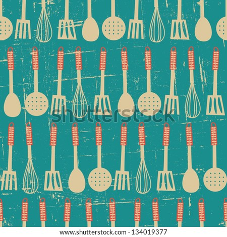 Seamless pattern with kitchen utensils in retro style. - stock vector