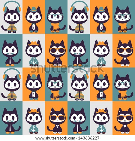 Seamless pattern with kittens in fashionable clothes - stock vector