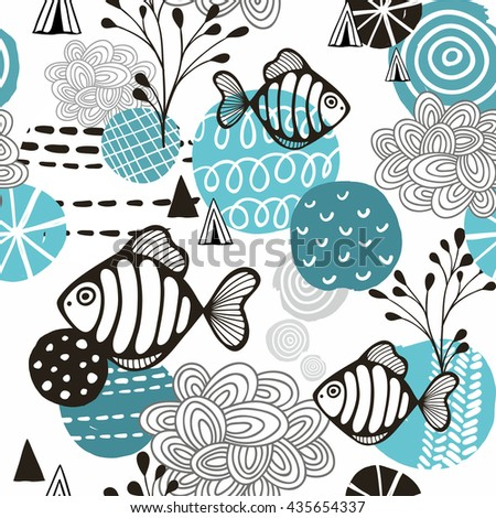 Seamless pattern with l fish in northern sea. Vector background. - stock vector