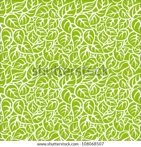 Seamless pattern with leafs - stock vector