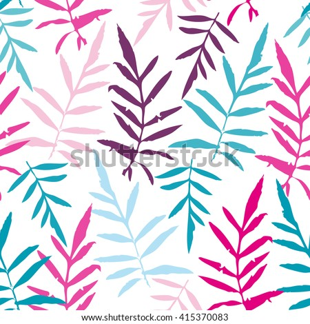 Seamless pattern with leafs tropical fern palm for fashion textile or web background. Magenta pink purple sky blue aqua silhouette on white background. Vector - stock vector