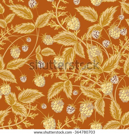 Seamless pattern with leaves and raspberry. Background for your design with bright, contrasting light brown berries and leaves on brown backdrop. Vector illustration. - stock vector