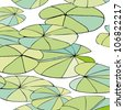 seamless pattern with leaves on the water - stock vector