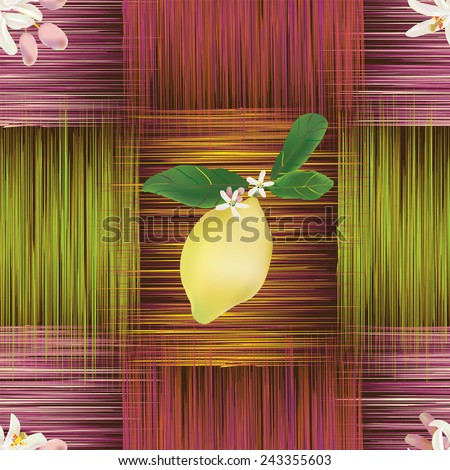 Seamless pattern with lemon fruit and flowers on grunge striped colorful background - stock vector