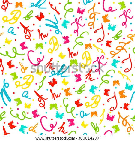 seamless pattern with letters and butterflies on a white background, illustration, vector - stock vector