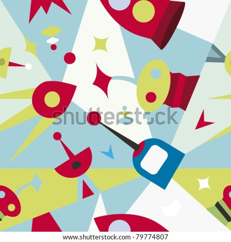 Seamless pattern with light space mood - stock vector
