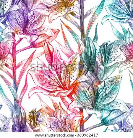 Seamless pattern with lily flowers. Vector, EPS 10 - stock vector