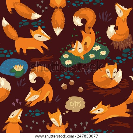 Seamless pattern with little cute foxes. Vector illustration - stock vector