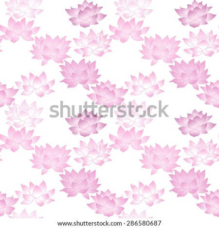 Seamless pattern with lotus flowers. Vector illustration - stock vector