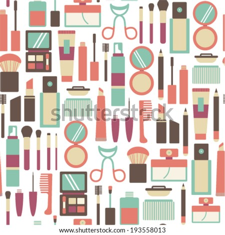 seamless pattern with makeup icons - stock vector