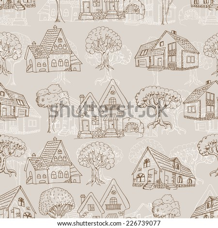 Seamless pattern with many houses and trees. Hand drawing - stock vector