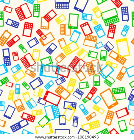 Seamless pattern with many mobile devices phone on light background, vector illustration - stock vector